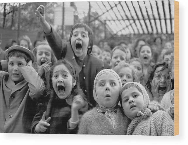 Timeincown Wood Print featuring the photograph Puppet Audience by Alfred Eisenstaedt