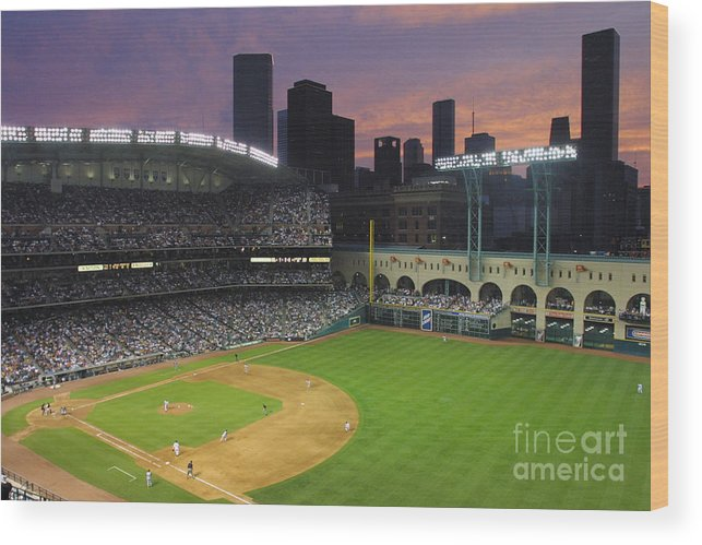 Minute Maid Park Wood Print featuring the photograph Reds V Astros X by Ronald Martinez