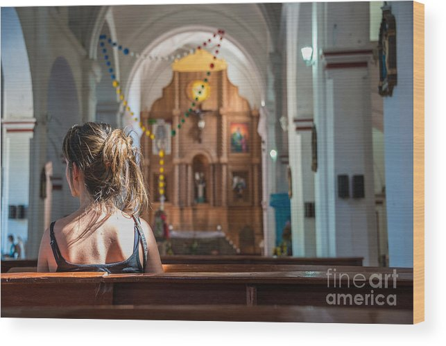 Religious Wood Print featuring the photograph Religious Scene Young Female Praying At by Dc aperture