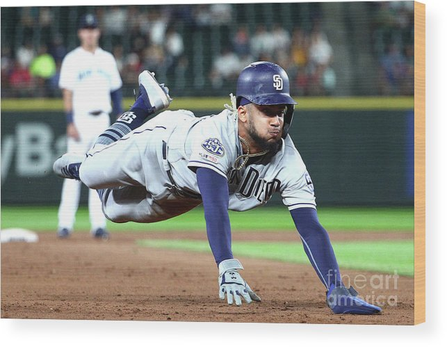 People Wood Print featuring the photograph San Diego Padres V Seattle Mariners by Abbie Parr