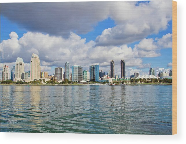 Tranquility Wood Print featuring the photograph San Diego Skyline From The Water by Raquel Lonas