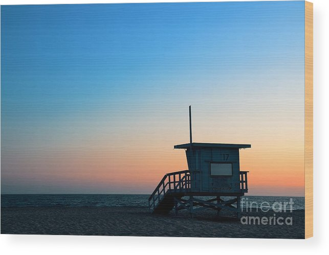 Sunrise Wood Print featuring the photograph Santa Monica Beach Safeguard Tower At by Songquan Deng