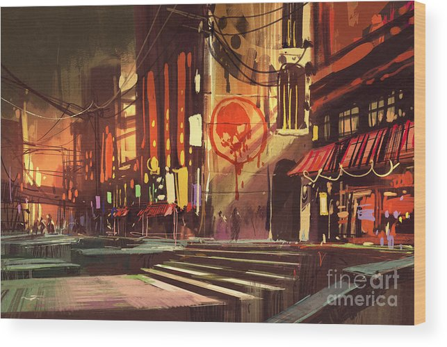 Color Wood Print featuring the digital art Sci-fi Scene Of Shopping by Tithi Luadthong