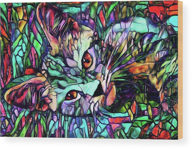 Cat Wood Print featuring the digital art Sparky The Stained Glass Kitten by Peggy Collins