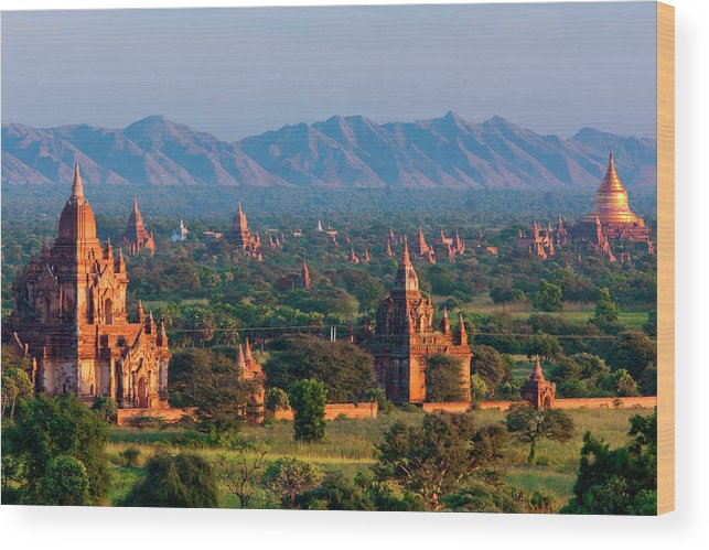 Southeast Asia Wood Print featuring the photograph Stupas On The Plains Of Bagan, Myanmar by Mint Images/ Art Wolfe