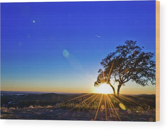 Scenics Wood Print featuring the photograph Texas Hill Country At Sunset by Bullcreekstudio.com