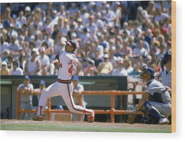 1980-1989 Wood Print featuring the photograph Texas Rangers V California Angels by Mike Powell