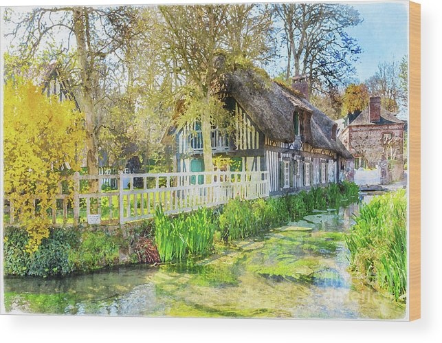 Normandy Wood Print featuring the painting Veules Les Roses by Delphimages Photo Creations
