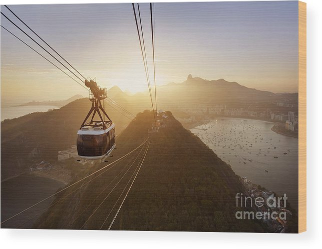 Bondinho Wood Print featuring the photograph View Of A Cable Car At Sunset, Showing by Claire Mcadams