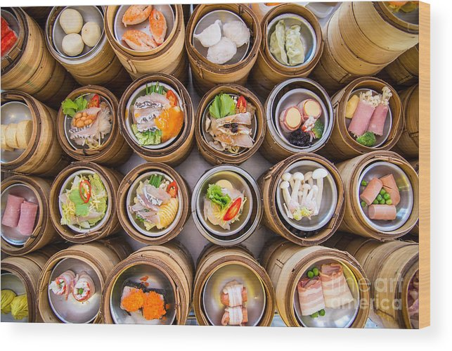 Container Wood Print featuring the photograph Yumcha, Dim Sum In Bamboo Steamer by Martinho Smart