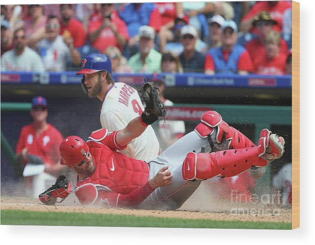 Baseball Catcher Wood Print featuring the photograph Bryce Harper by Rich Schultz