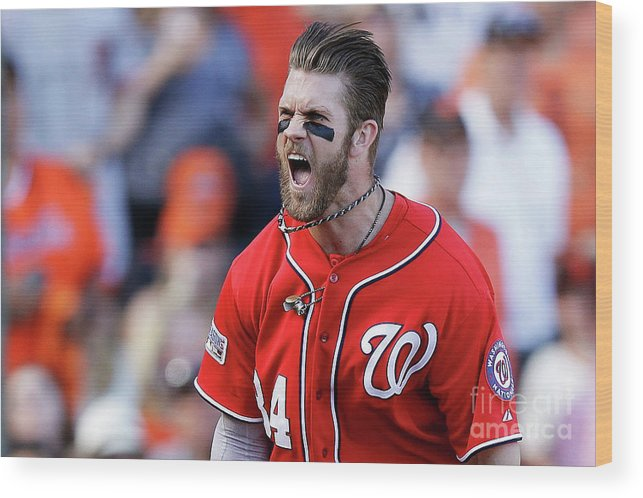 San Francisco Wood Print featuring the photograph Madison Bumgarner And Bryce Harper by Ezra Shaw