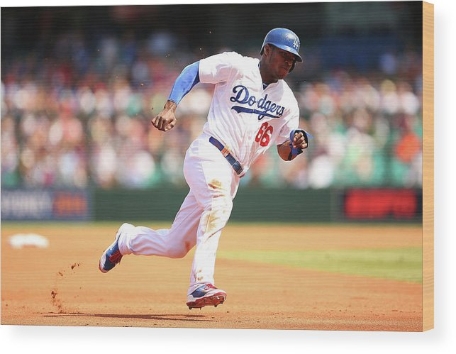Los Angeles Dodgers Wood Print featuring the photograph Yasiel Puig by Brendon Thorne