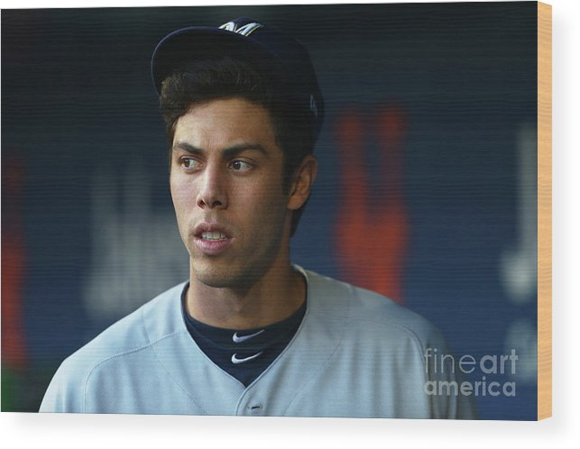 People Wood Print featuring the photograph Christian Yelich by Mike Stobe