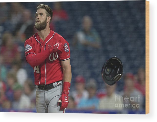 Game Two Wood Print featuring the photograph Bryce Harper by Mitchell Leff