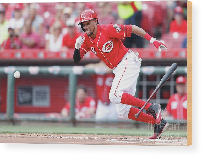 Great American Ball Park Wood Print featuring the photograph Billy Hamilton by Joe Robbins