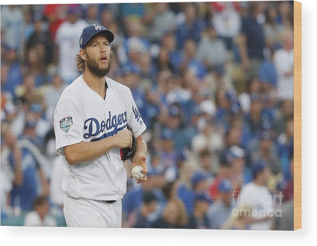 American League Baseball Wood Print featuring the photograph Clayton Kershaw by Sean M. Haffey