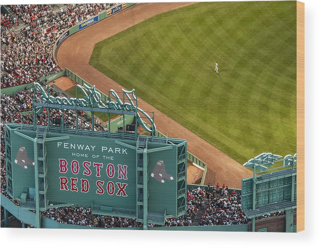 American League Baseball Wood Print featuring the photograph New York Yankees V Boston Red Sox by Billie Weiss/Boston Red Sox
