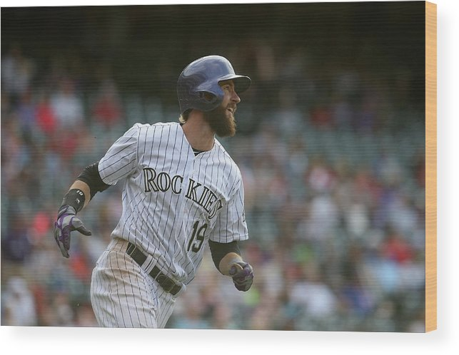 National League Baseball Wood Print featuring the photograph Charlie Blackmon by Doug Pensinger