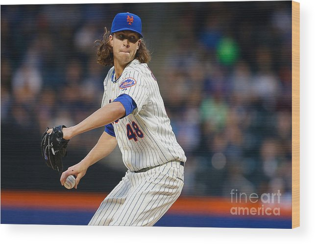 Jacob Degrom Wood Print featuring the photograph Jacob Degrom by Mike Stobe