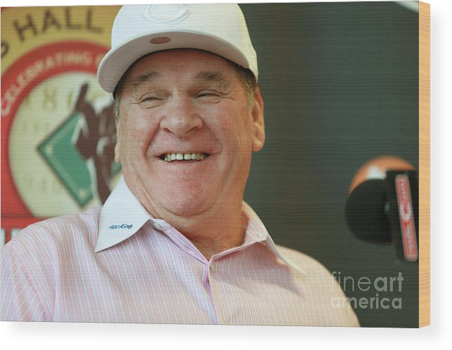 Great American Ball Park Wood Print featuring the photograph Pete Rose by Mark Lyons