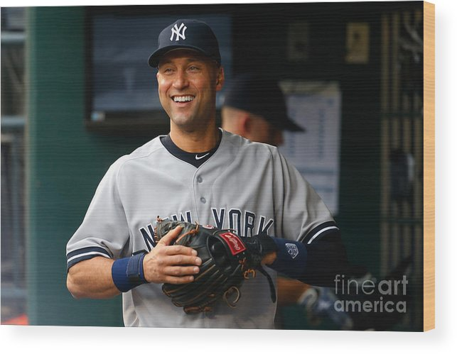 People Wood Print featuring the photograph Derek Jeter by Mike Stobe