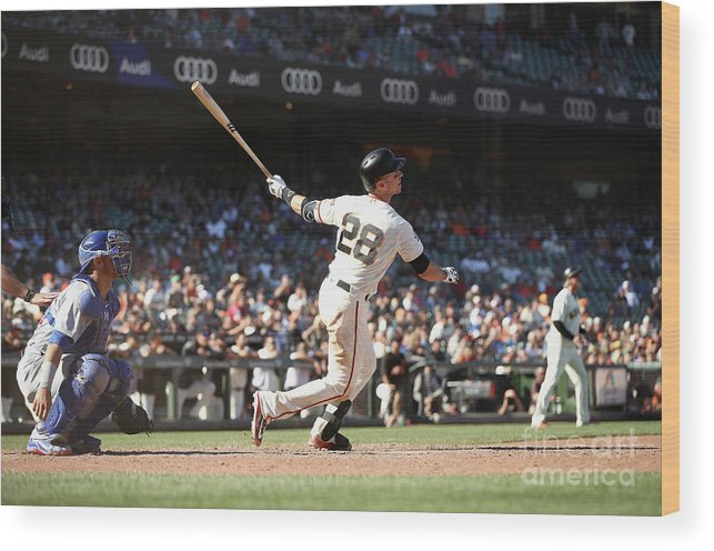 San Francisco Wood Print featuring the photograph Buster Posey by Ezra Shaw