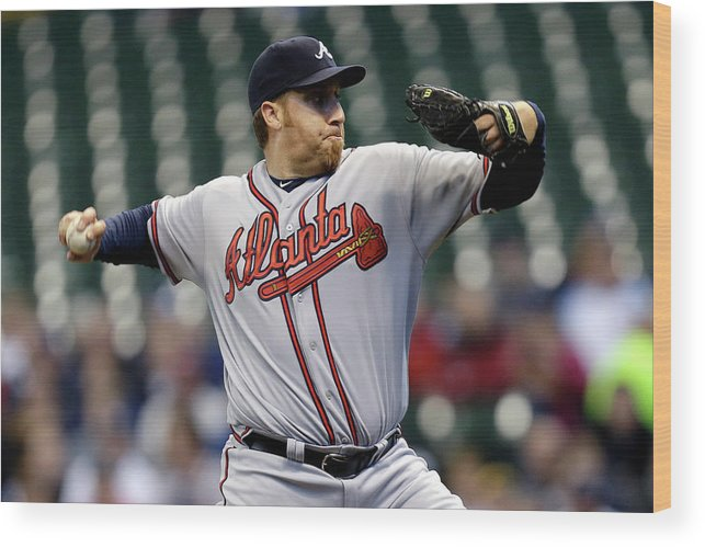 Aaron Harang Wood Print featuring the photograph Aaron Harang by Mike Mcginnis