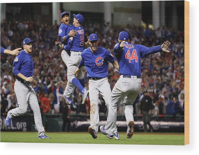 People Wood Print featuring the photograph Addison Russell, Kris Bryant, And Javier Baez by Ezra Shaw