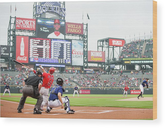 People Wood Print featuring the photograph Albert Pujols And Chad Bettis by Dustin Bradford