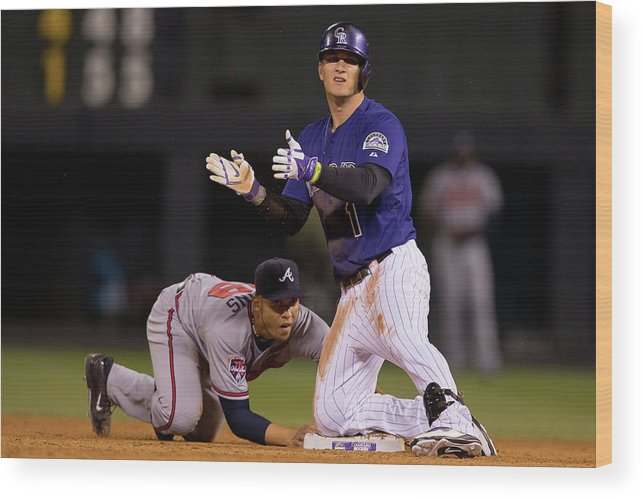 Celebration Wood Print featuring the photograph Andrelton Simmons And Brandon Barnes by Justin Edmonds