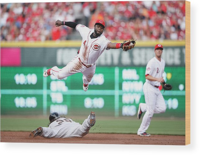 Great American Ball Park Wood Print featuring the photograph Brandon Crawford And Brandon Phillips by Joe Robbins