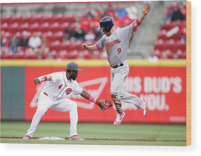Great American Ball Park Wood Print featuring the photograph Brandon Phillips And Aaron Hill by Joe Robbins