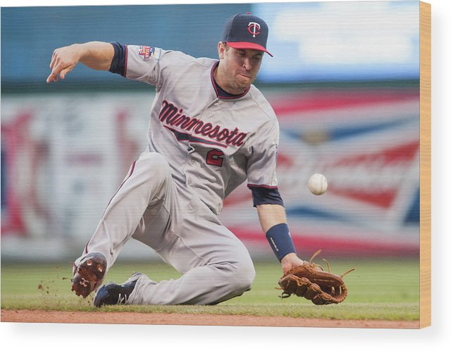 American League Baseball Wood Print featuring the photograph Brian Dozier And David Murphy by Jason Miller