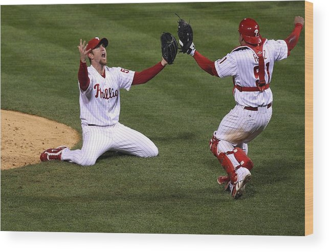 Carlos Ruiz Wood Print featuring the photograph Carlos Ruiz And Brad Lidge by Jim Mcisaac