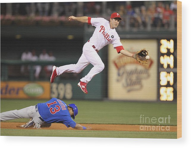 Citizens Bank Park Wood Print featuring the photograph Chase Utley And Starlin Castro by Hunter Martin