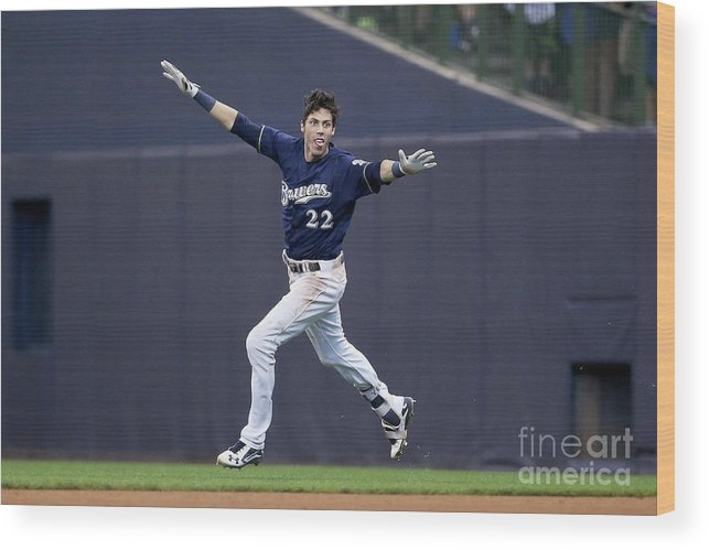People Wood Print featuring the photograph Christian Yelich by Dylan Buell