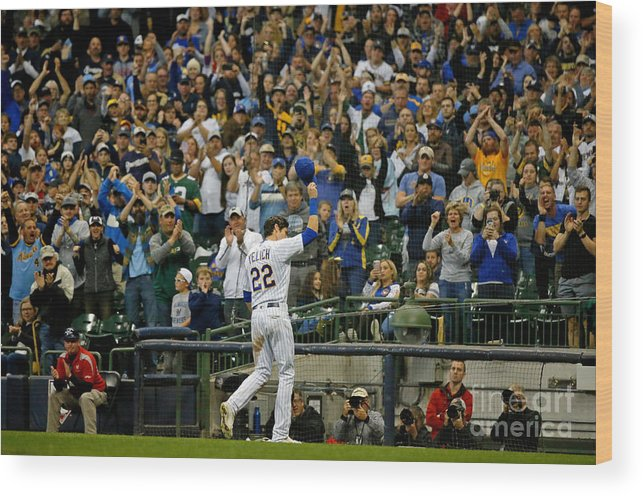Crowd Wood Print featuring the photograph Christian Yelich by Jon Durr