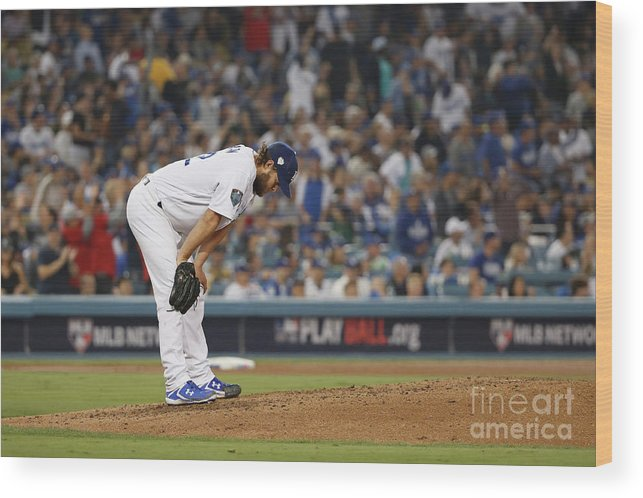 People Wood Print featuring the photograph Clayton Kershaw And Mookie Betts by Sean M. Haffey