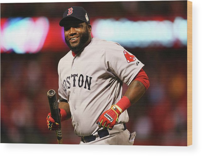 American League Baseball Wood Print featuring the photograph David Ortiz by Ronald Martinez