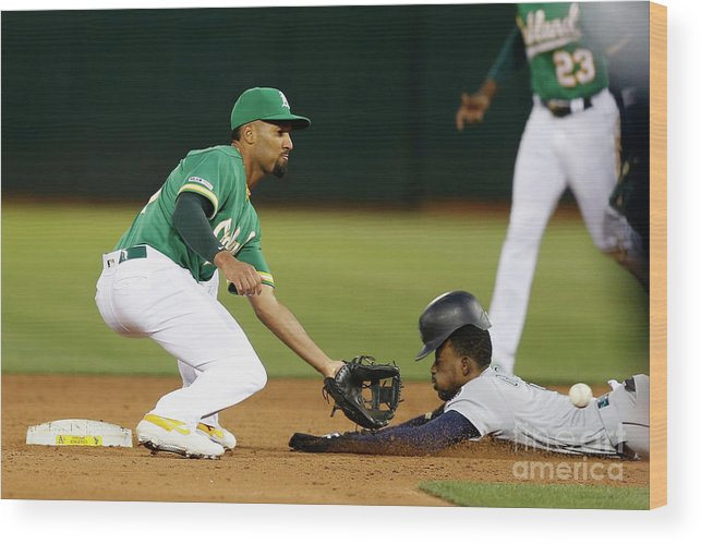 People Wood Print featuring the photograph Dee Gordon And Marcus Semien by Lachlan Cunningham