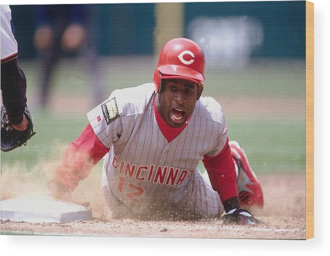 Motion Wood Print featuring the photograph Deion Sanders by Ronald C. Modra/sports Imagery