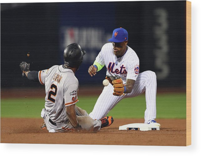 Playoffs Wood Print featuring the photograph Denard Span by Alex Trautwig