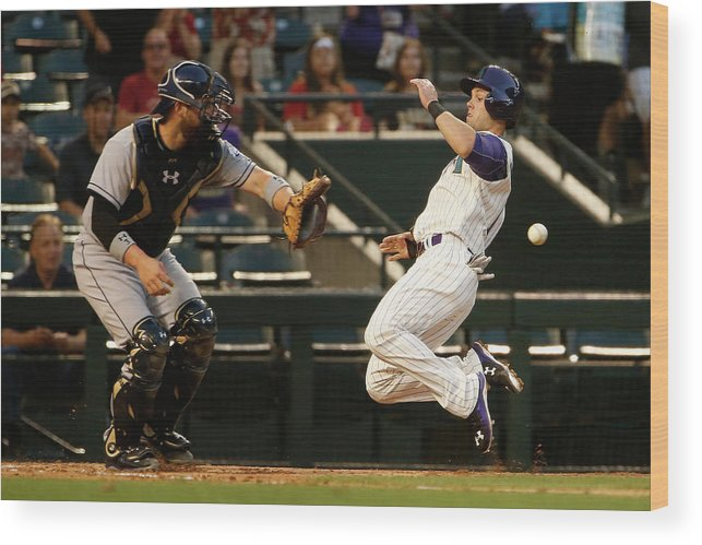 Baseball Catcher Wood Print featuring the photograph Derek Norris And Chris Owings by Christian Petersen