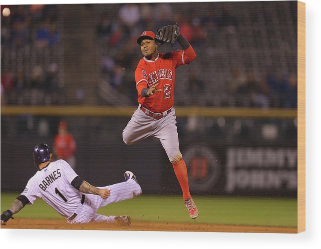Double Play Wood Print featuring the photograph Erick Aybar And Brandon Barnes by Justin Edmonds