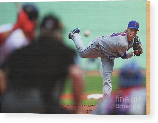 Jacob Degrom Wood Print featuring the photograph Jacob Degrom by Adam Glanzman