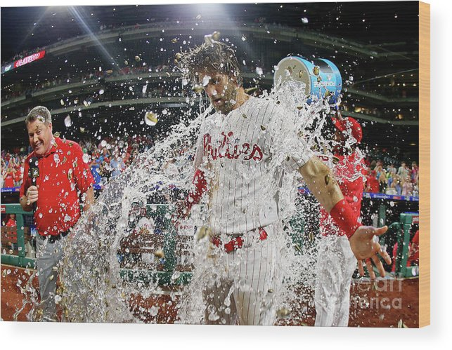 Three Quarter Length Wood Print featuring the photograph Jean Segura And Bryce Harper by Rich Schultz