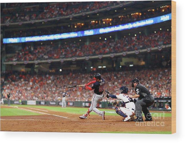 American League Baseball Wood Print featuring the photograph Juan Soto by Mike Ehrmann