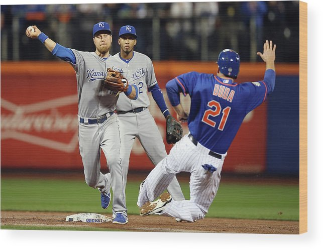 Playoffs Wood Print featuring the photograph Lucas Duda And Ben Zobrist by Brad Mangin