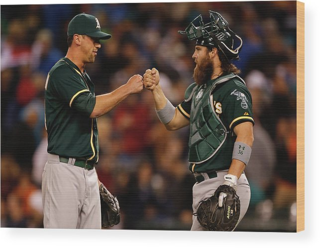 American League Baseball Wood Print featuring the photograph Luke Gregerson And Derek Norris by Otto Greule Jr